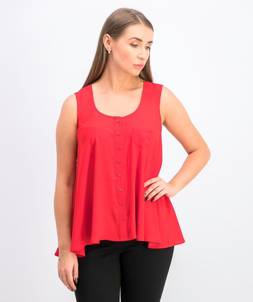 Womens Swing Sleeveless Blouse, Real Red