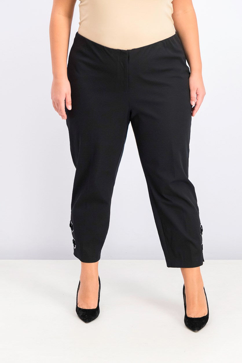 Women's Plus Size Hollywood-Waist Pants, Black