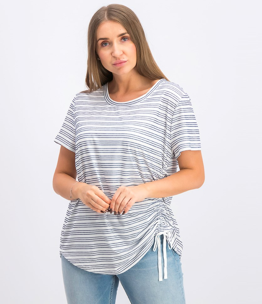 Women's Striped Side-Ruched Top, Blue/White