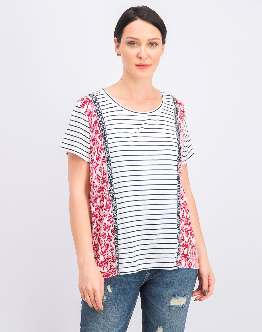 Women's Printed Short-Sleeve Top, Harmony Red