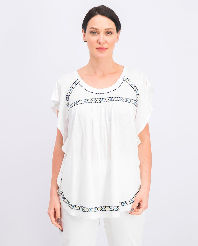 Embroidered Flutter-Sleeve Top, Global Delight