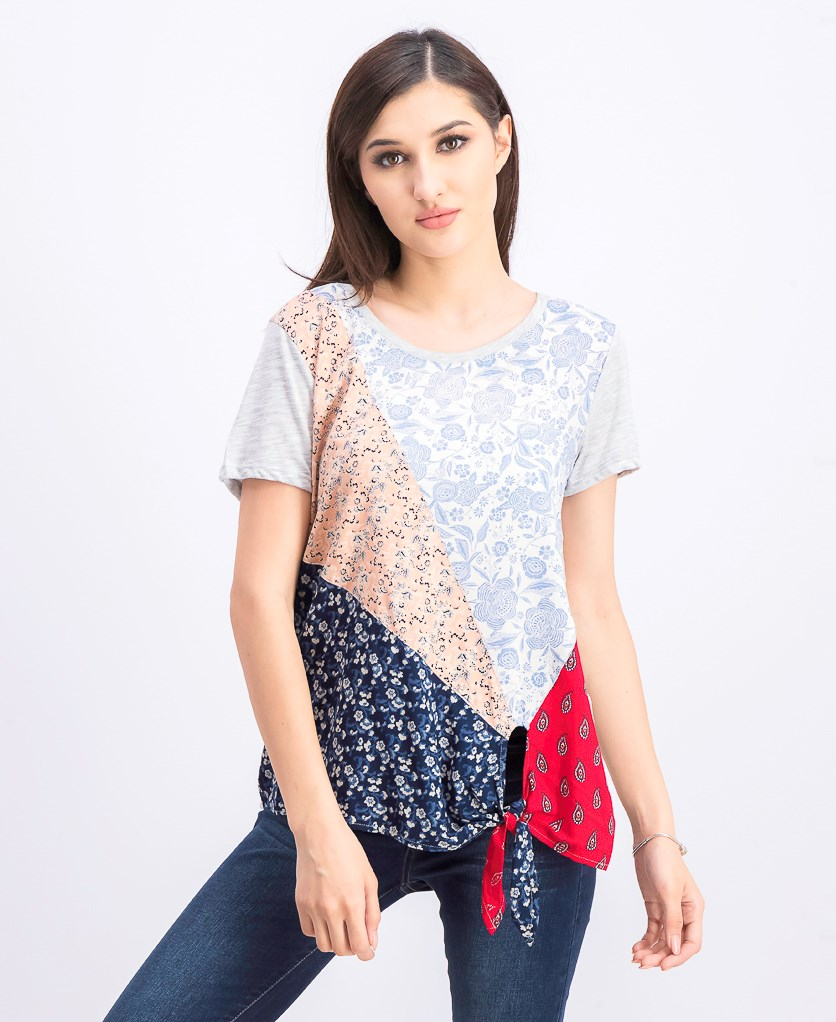 Women's Mixed-Print Side-Tie T-Shirt, Scarf Sensation