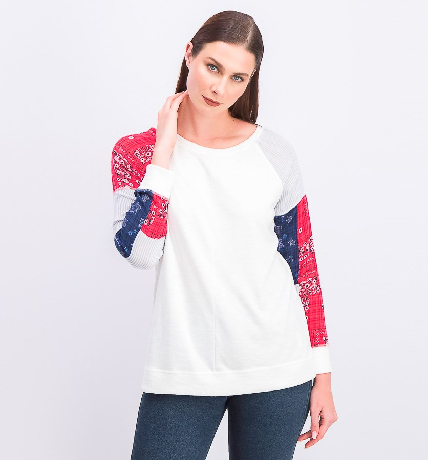 Women's Patchwork-Sleeve Top, White Combo