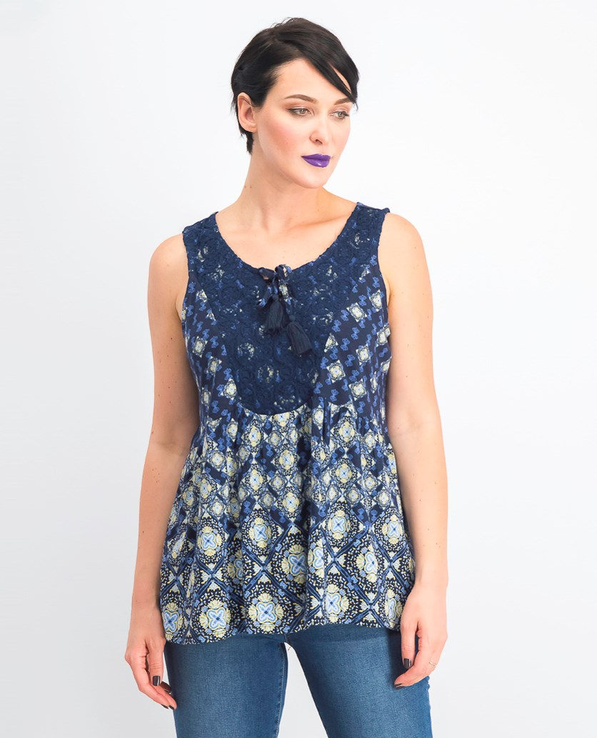 Women's Printed Lace-up Sleeveless Top, Exotic Tiles