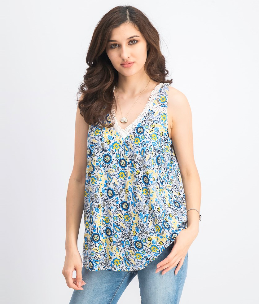 Women's Floral-Print Lace-Trim Top, Folkloric/Blue Combo