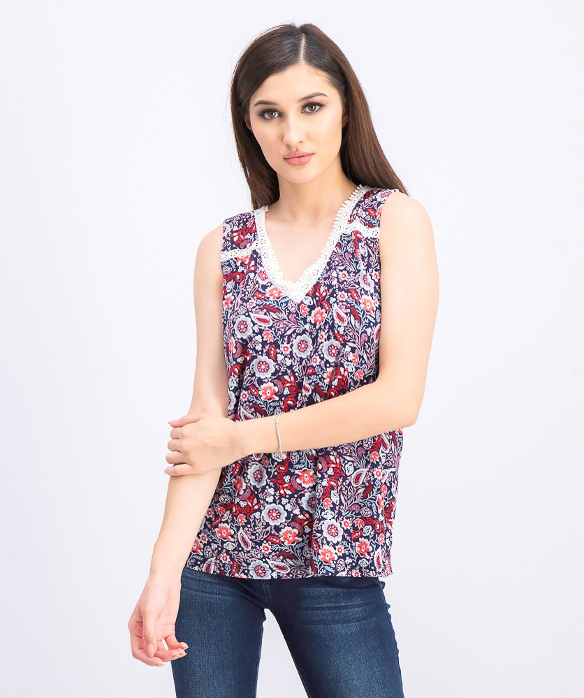 Women's Floral-Print Lace-Trim Top, Folkloric Blue