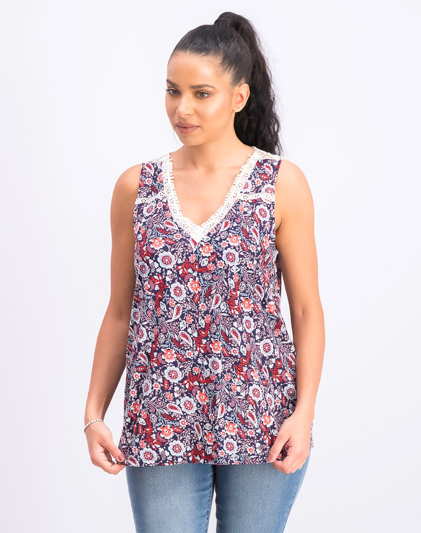Women's Floral-Print Lace-Trim Top, Navy/Red