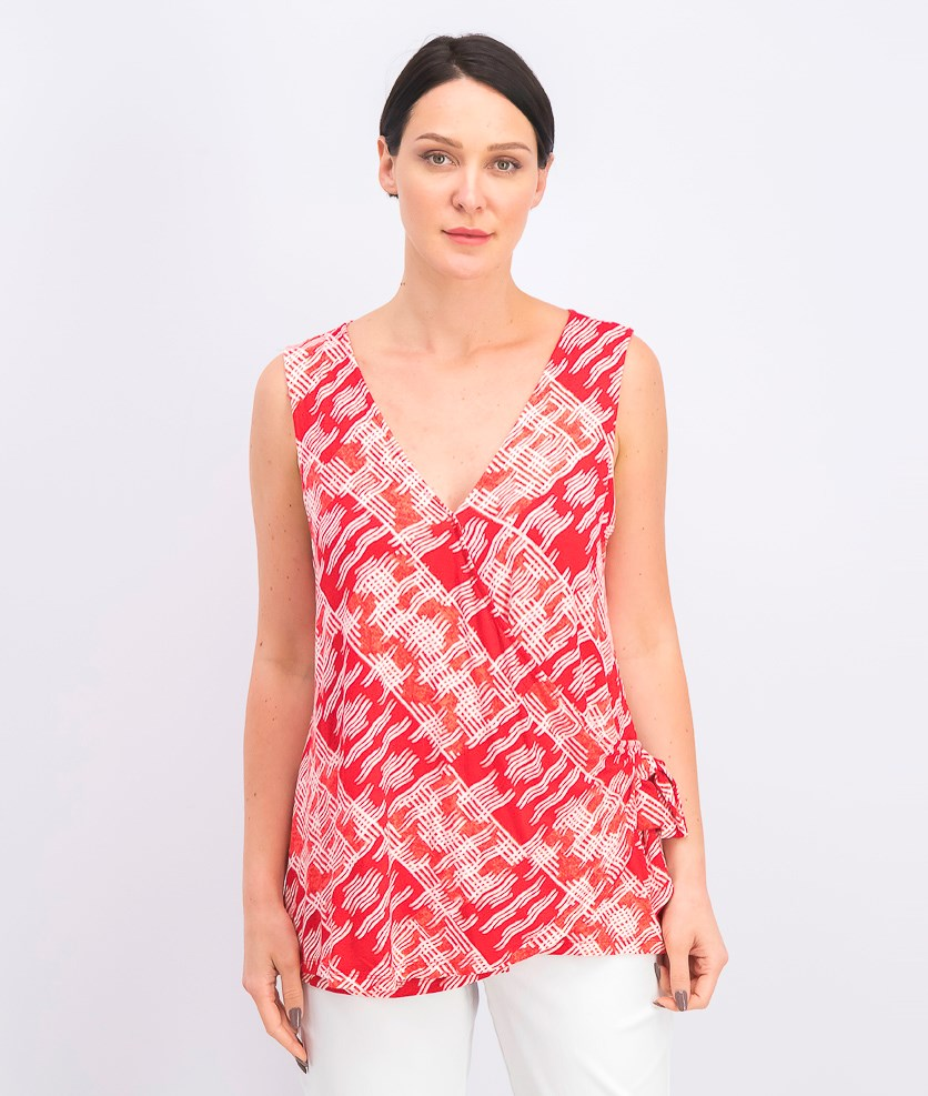 Women's V-Neck Wrap Top, Shibori Red