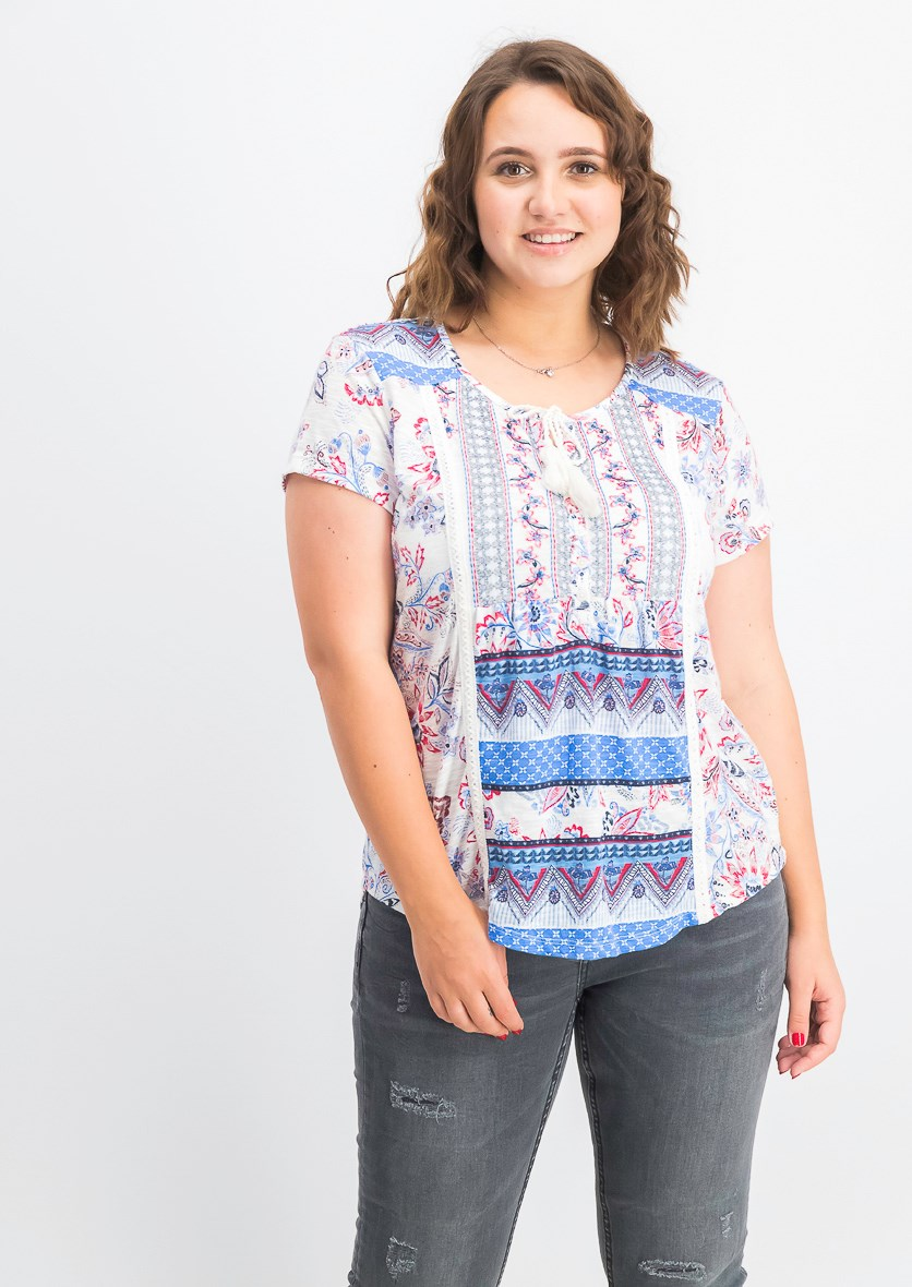 Women's Mixed-Print Peasant Top, Summertime/Red Combo