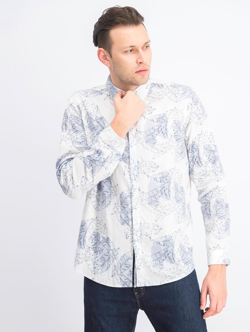 Men's Abstract Floral Shirt, White Combo