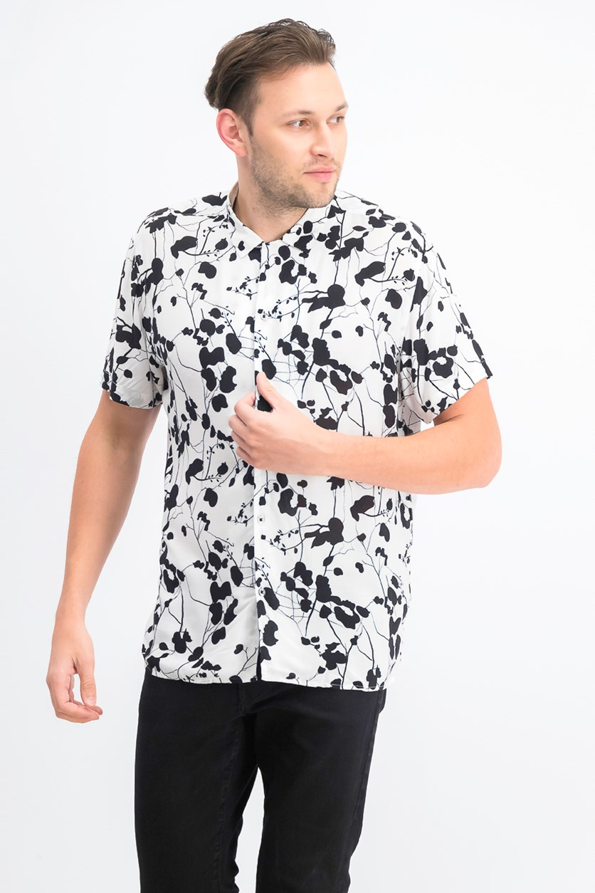 Men's Twig Leaf Camp Collar Shirt, White/Black