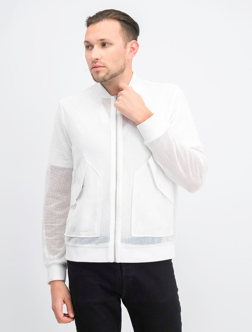 Men's Mesh Bomber Jacket, White Pure