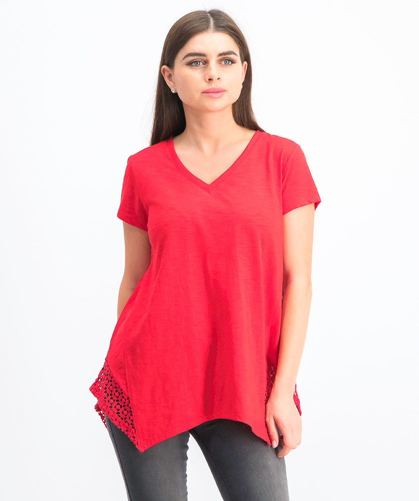 Crochet Handkerchief-Hem T-Shirt, Red