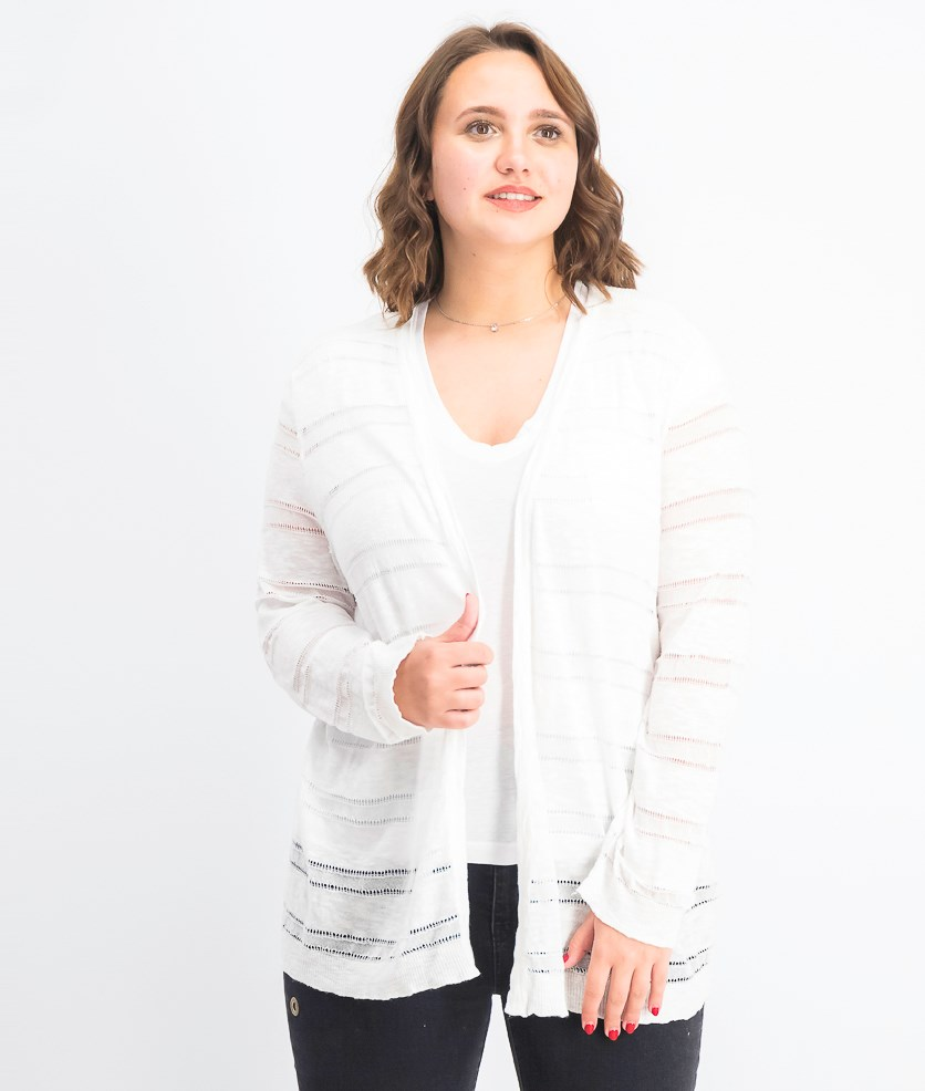 Women's Pointelle Striped Cardigan, Bright White