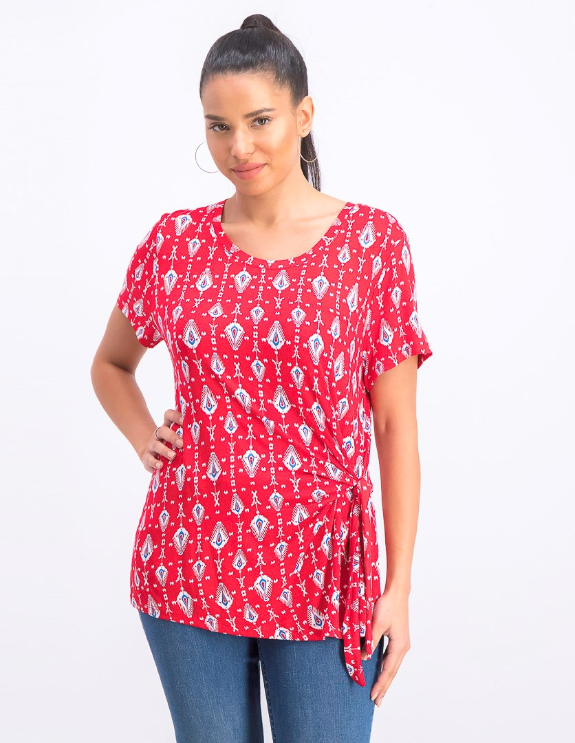 Women's  Printed Side-Tie Top, Red Combo