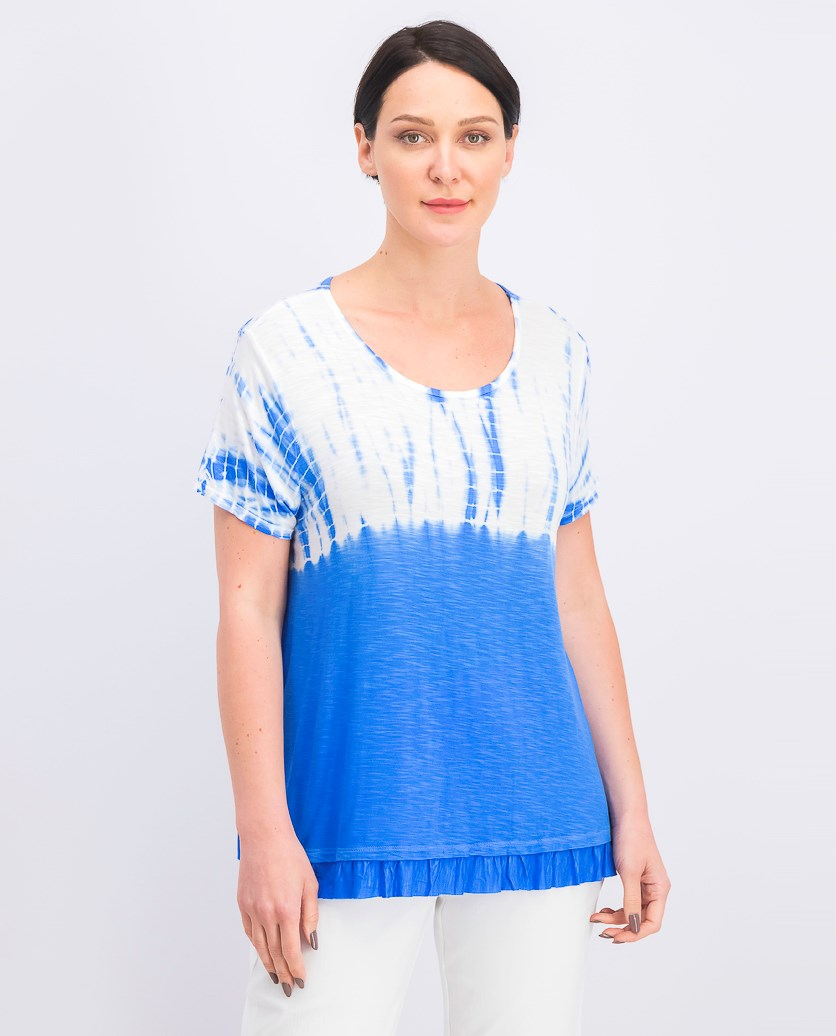 Women's Ruffle-Hem Tie-Dyed Top, Blue Bamboo Dye
