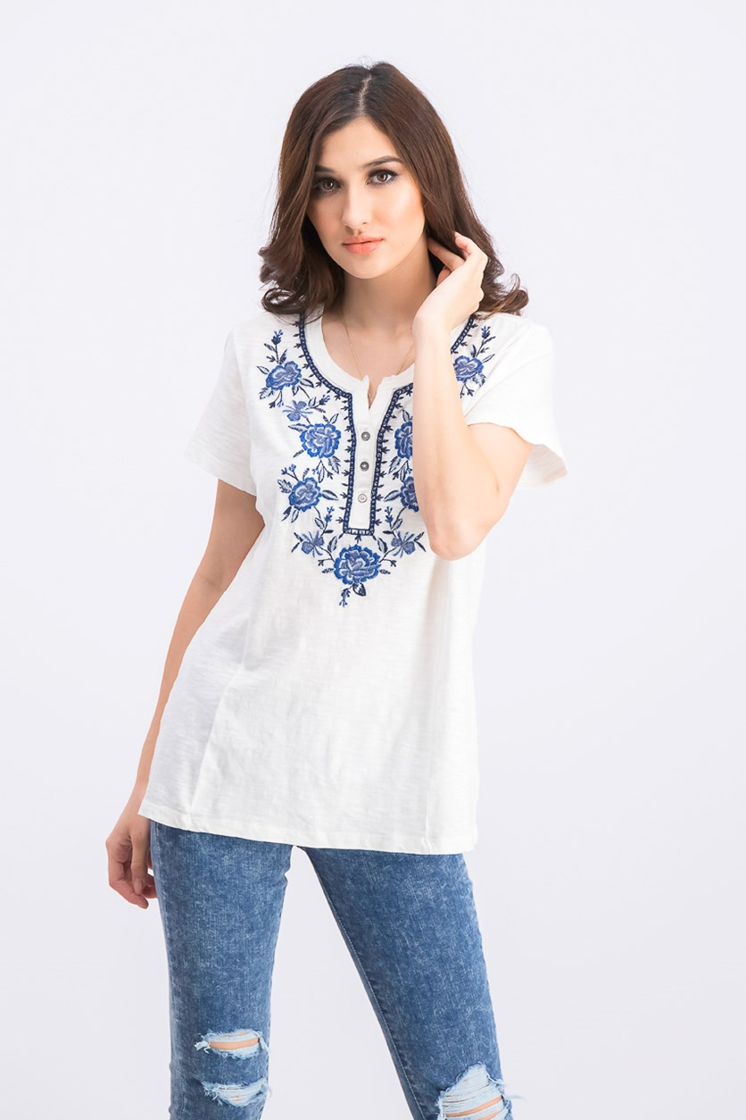 Women's Cotton Embroidered Top, Winter White