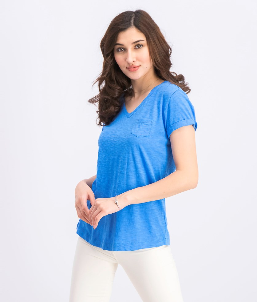 Women's Petite V-Neck Pocket T-Shirt, Beach Blue