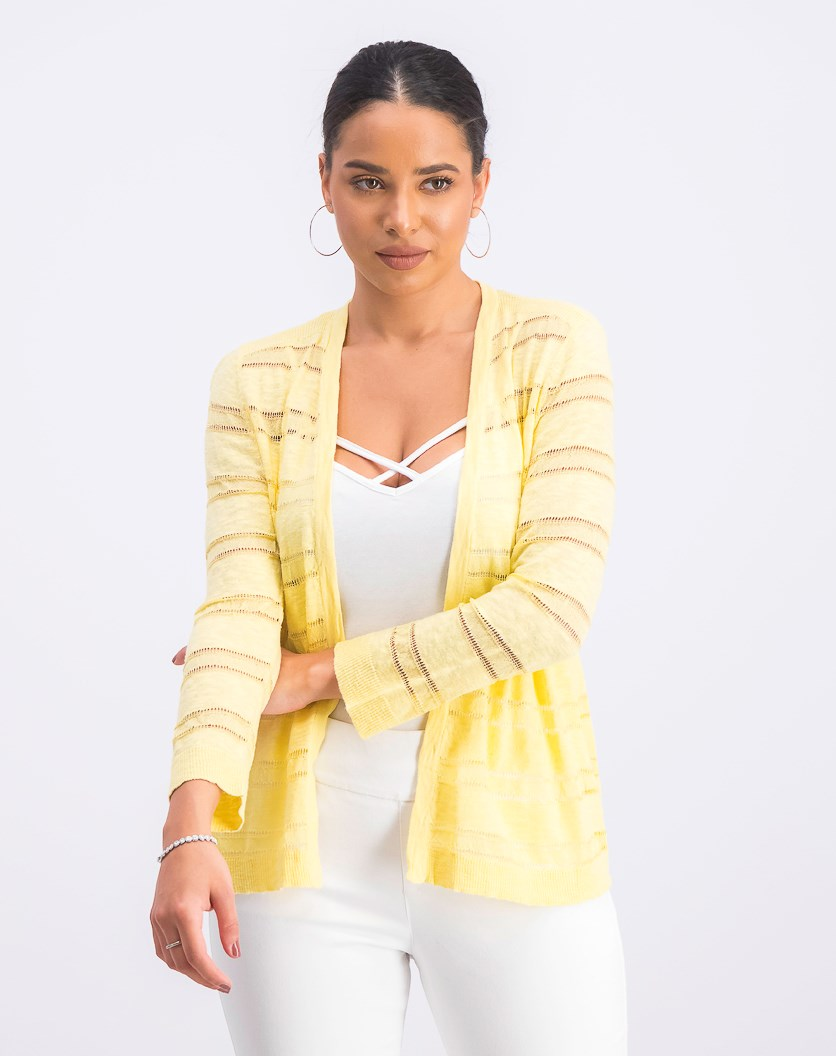 Women's Petite Pointelle-Stripe Cardigan, Citron Aura