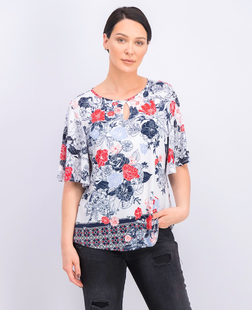 Flutter-Sleeve Keyhole Top, Bright White Combo