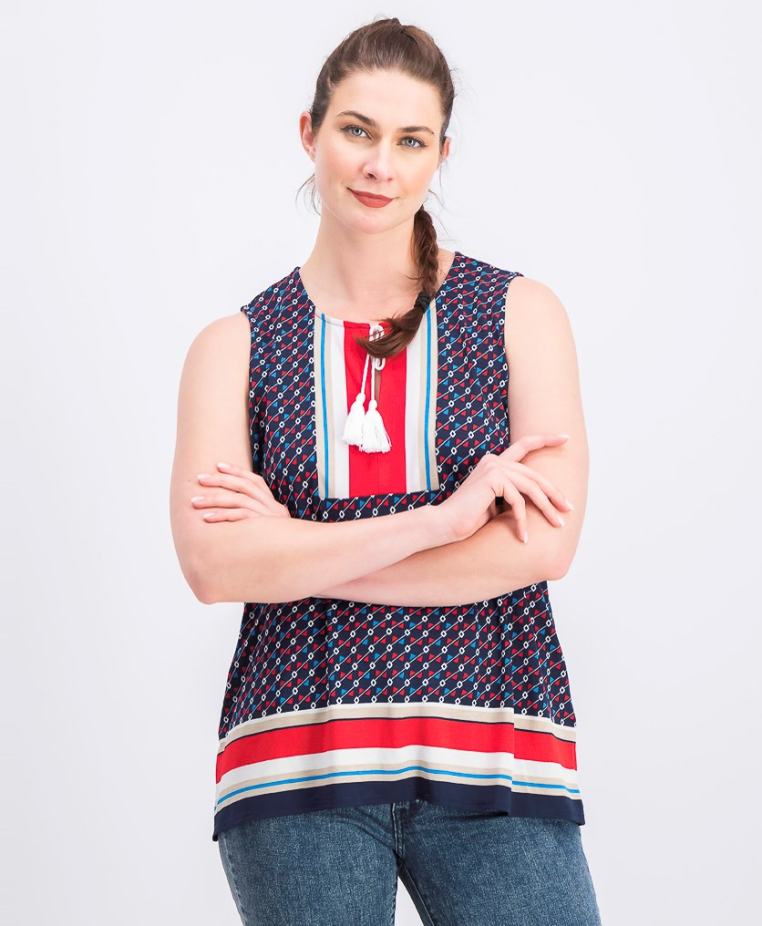 Printed Tassel-Tie Sleeveless Top, Intrepid Blue Combo