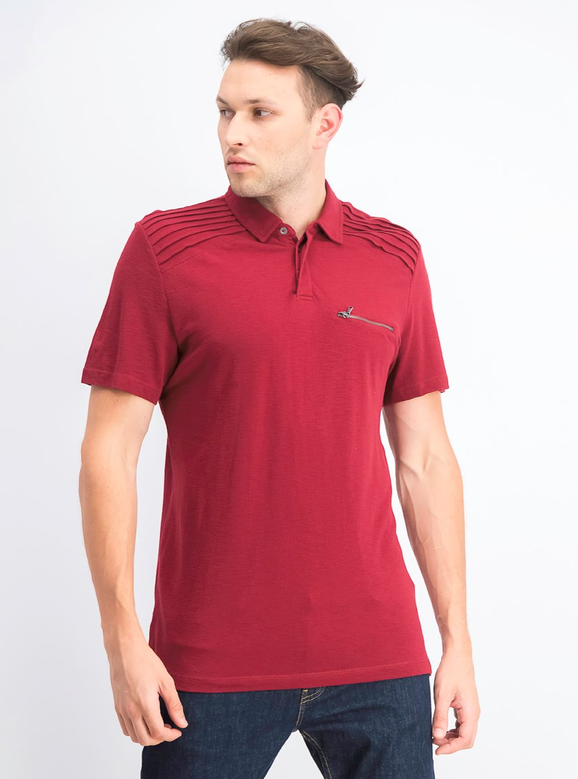 Men's Pin-tucked Pocket Polo, Chinese Apple