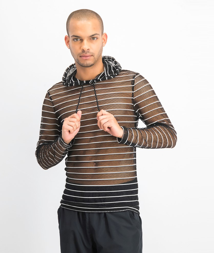 Men's Stripe Mesh Hooded T-Shirt, Deep Black