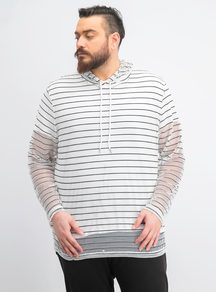 Men's Stripe Mesh Hooded T-Shirt, White