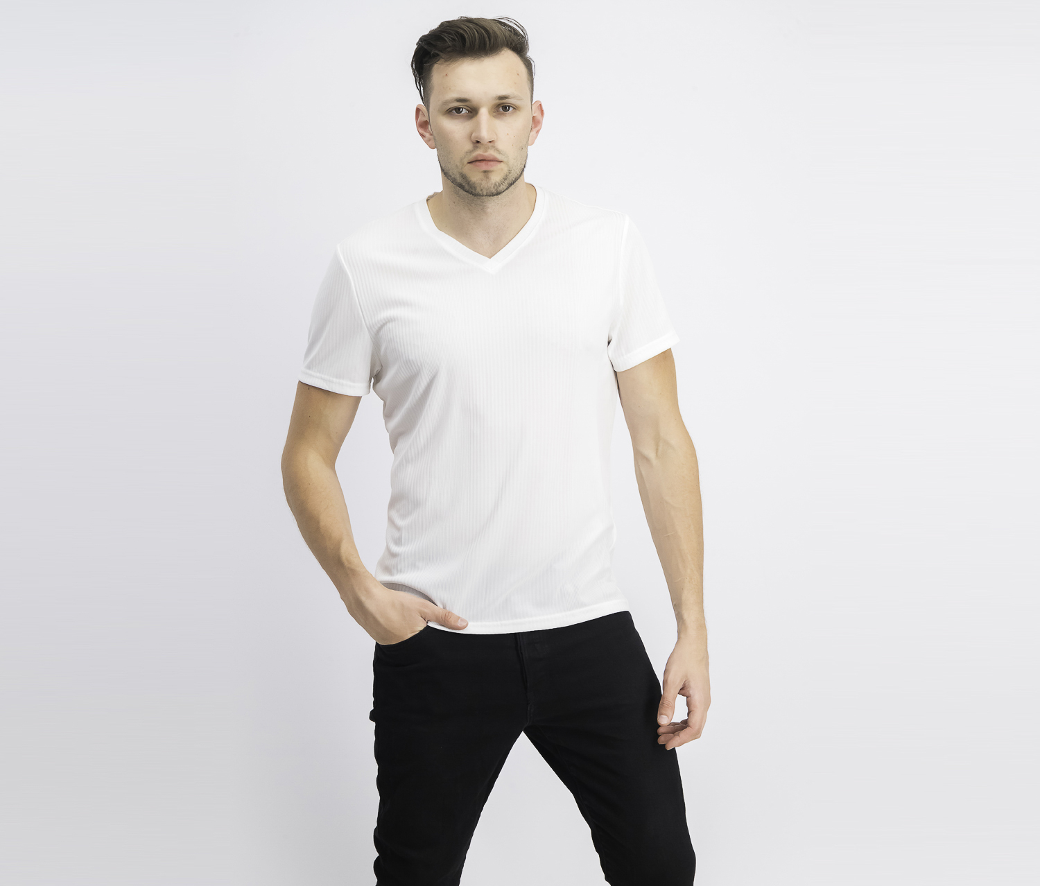 Men's Pullover V-Neck T-Shirt, White Pure
