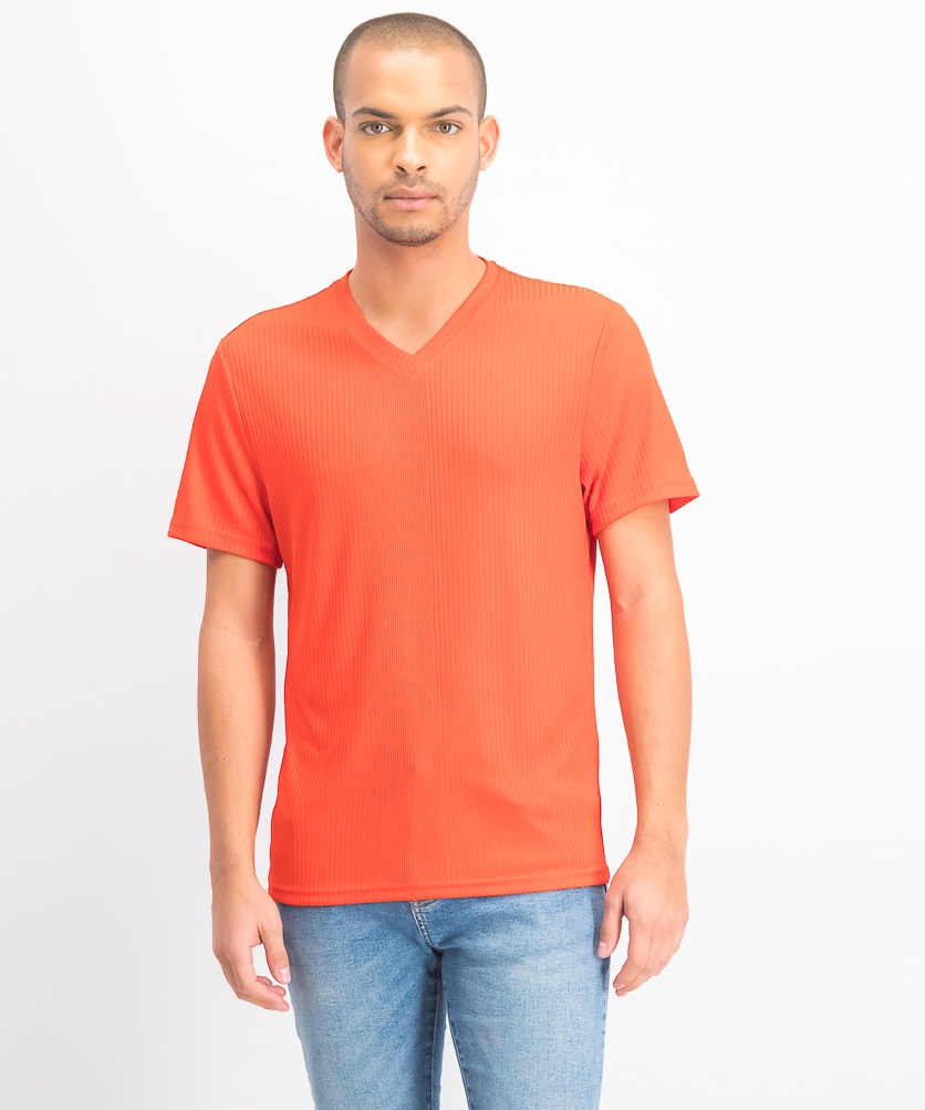 Men's V-Neck Textured Stripe T-Shirt, Hot Sauce