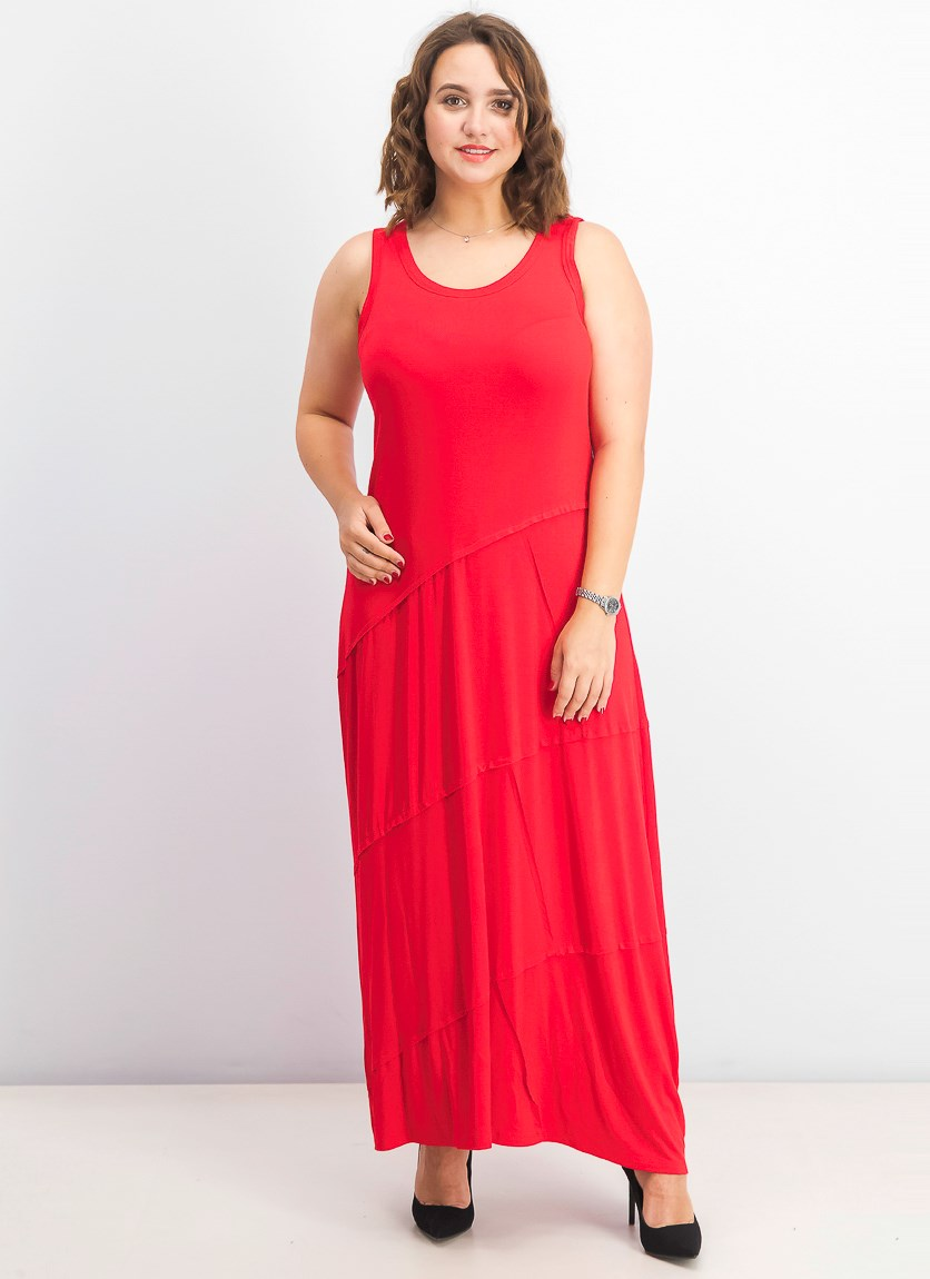 Women's Sleeveless Asymmetrical-Seam Maxi Dress, Real Red