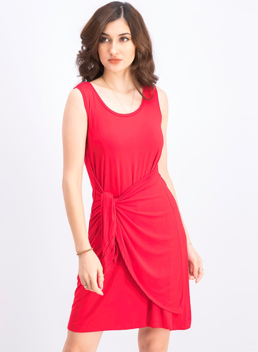 Women's Petite Knot-Front Knit Tank Dress, Real Red