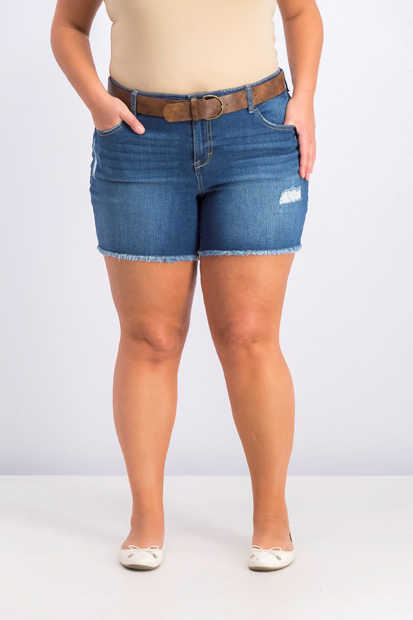 Women's Plus Size Distressed Belted Shorts, Blue