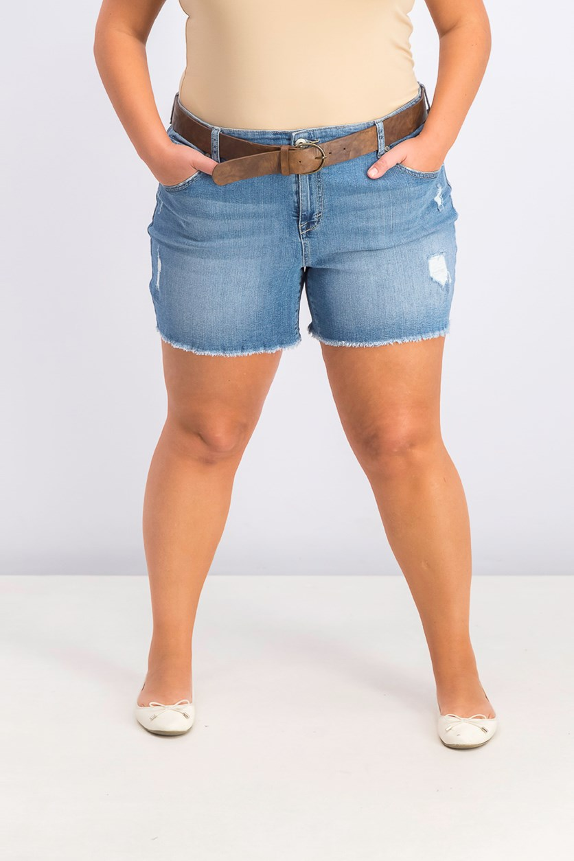 Women's Plus Size Distressed Belted Shorts, Seaside
