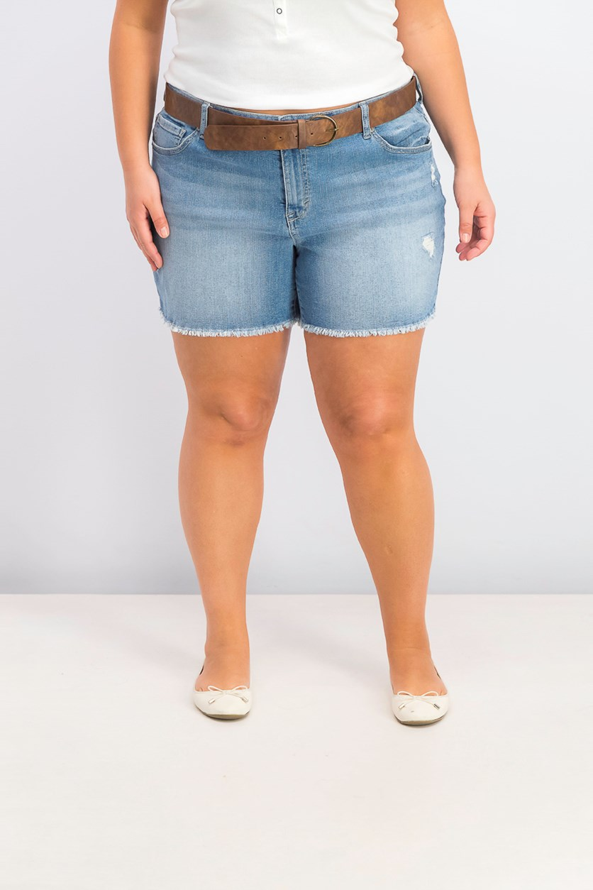 Women's Plus Size Distressed Belted Shorts, Denim Blue