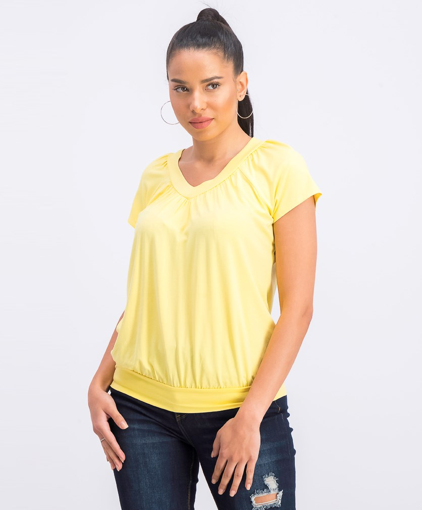 Petite Banded-Hem Top, Yellow