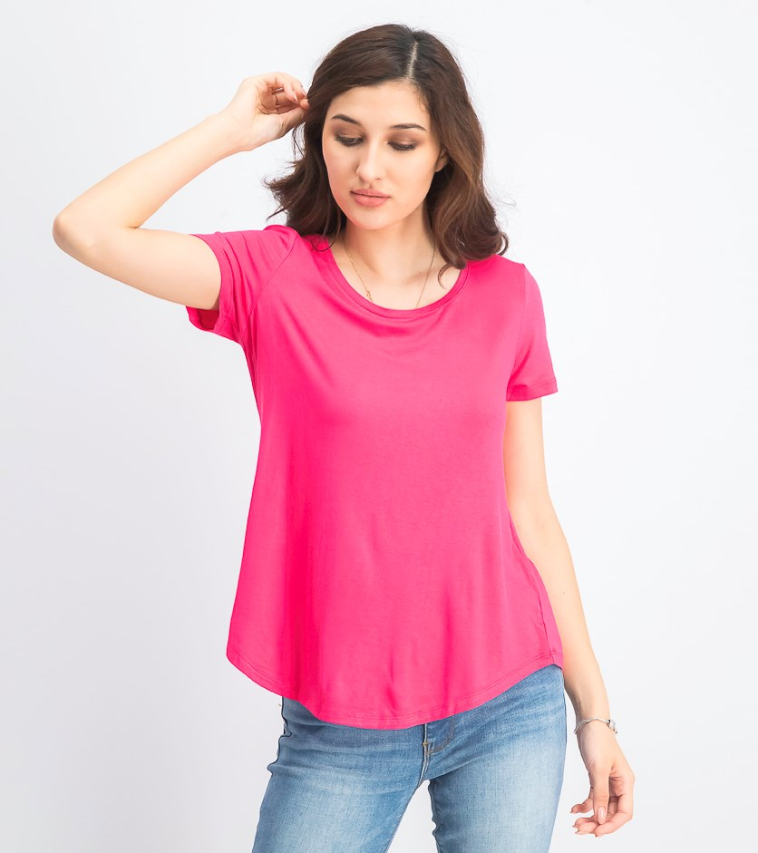 Women's Petite Shirttail-Hem Top, Pink Twist