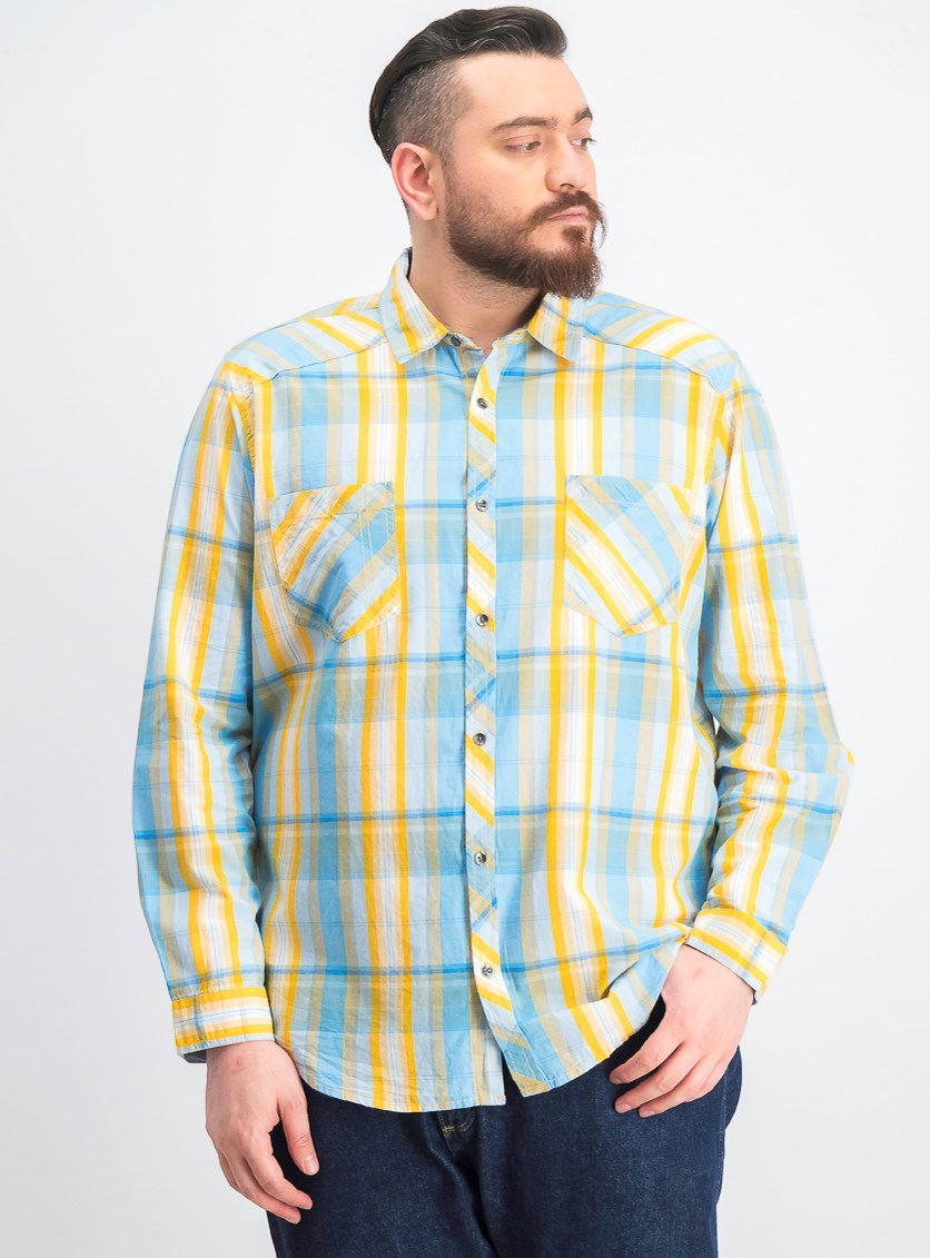 Men's Aaron Plaid Shirt, Sparkling Sun