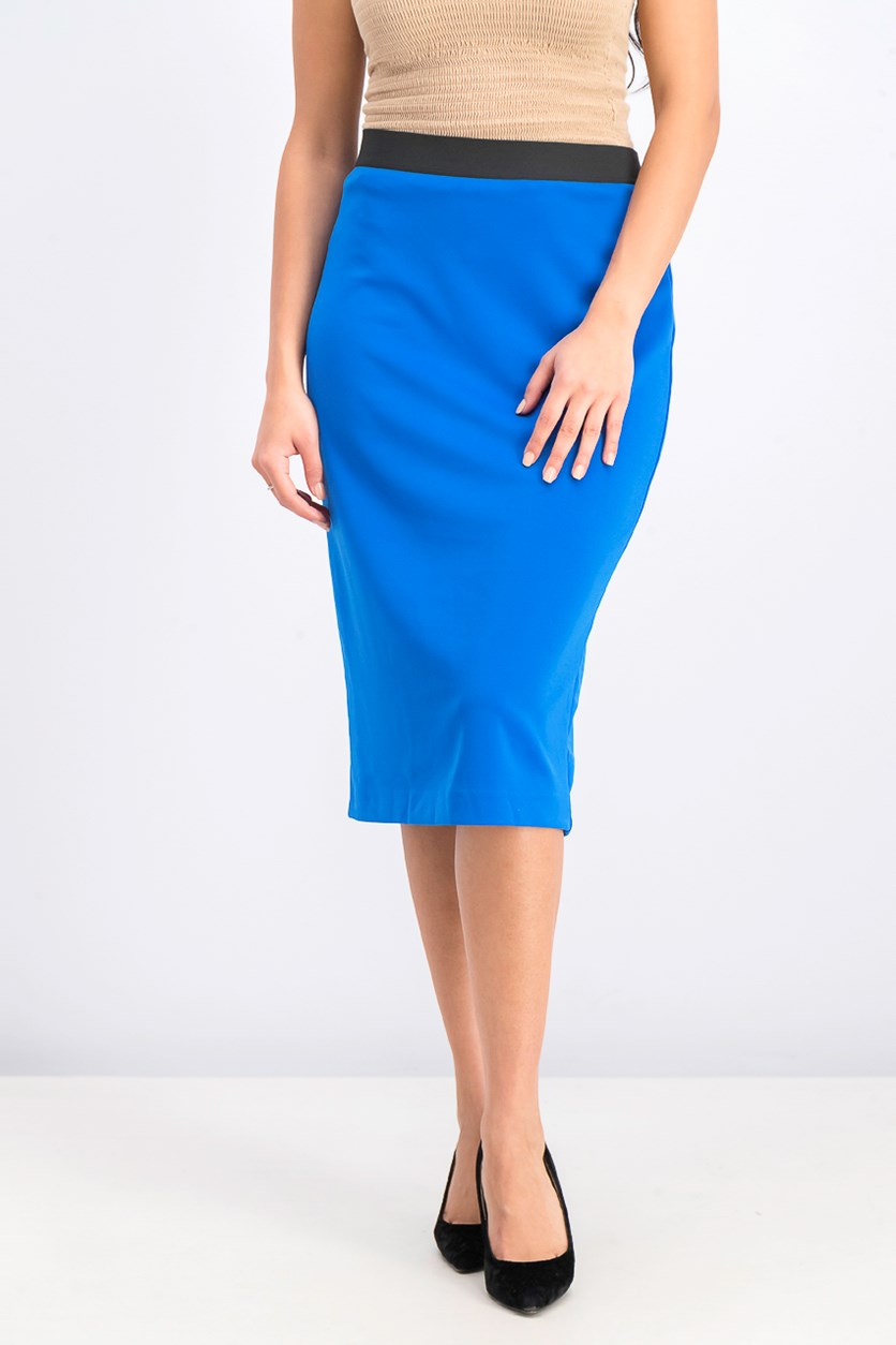 Women's Below-Knee Pencil Skirt, Stormy Sea