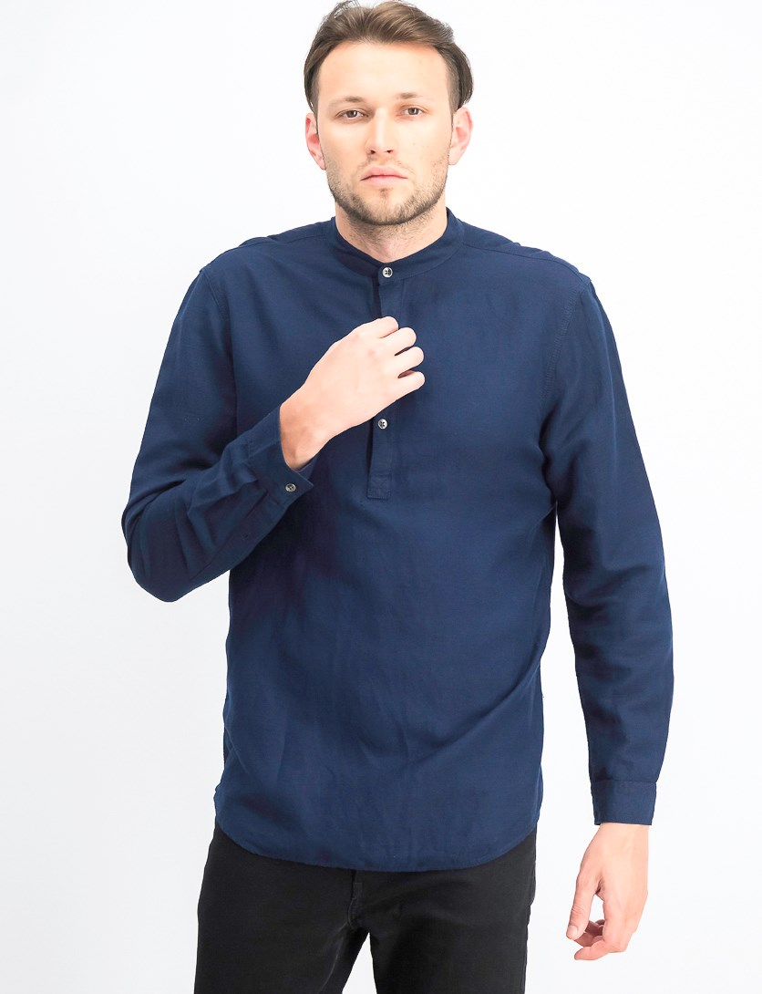 Men's Four-Button Linen Shirt, Basic Navy