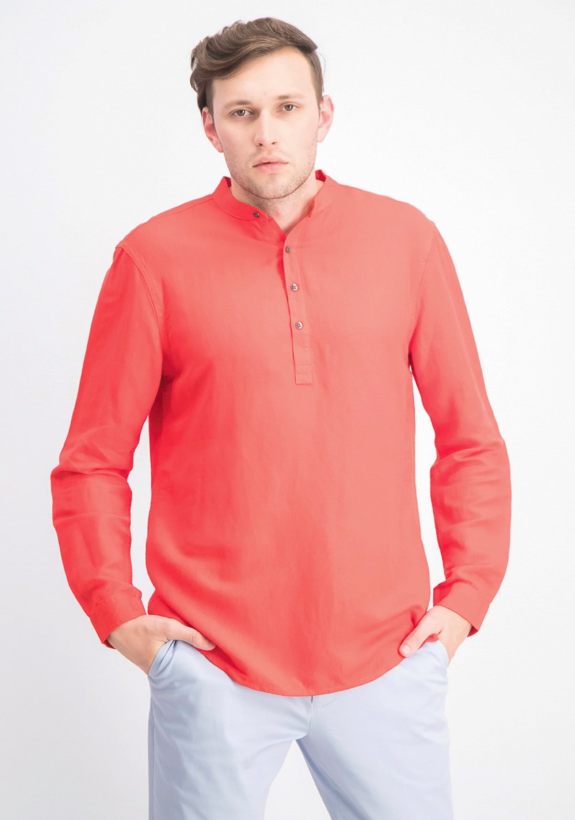 Men's Four-Button Linen Shirt, Hot Sauce