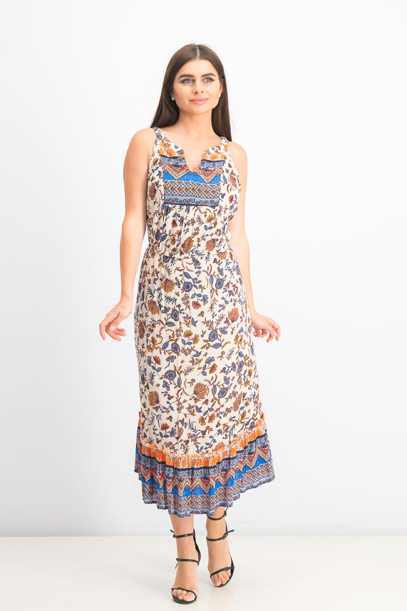 Women's Paisley Flower Midi Dress, Summertime Mix
