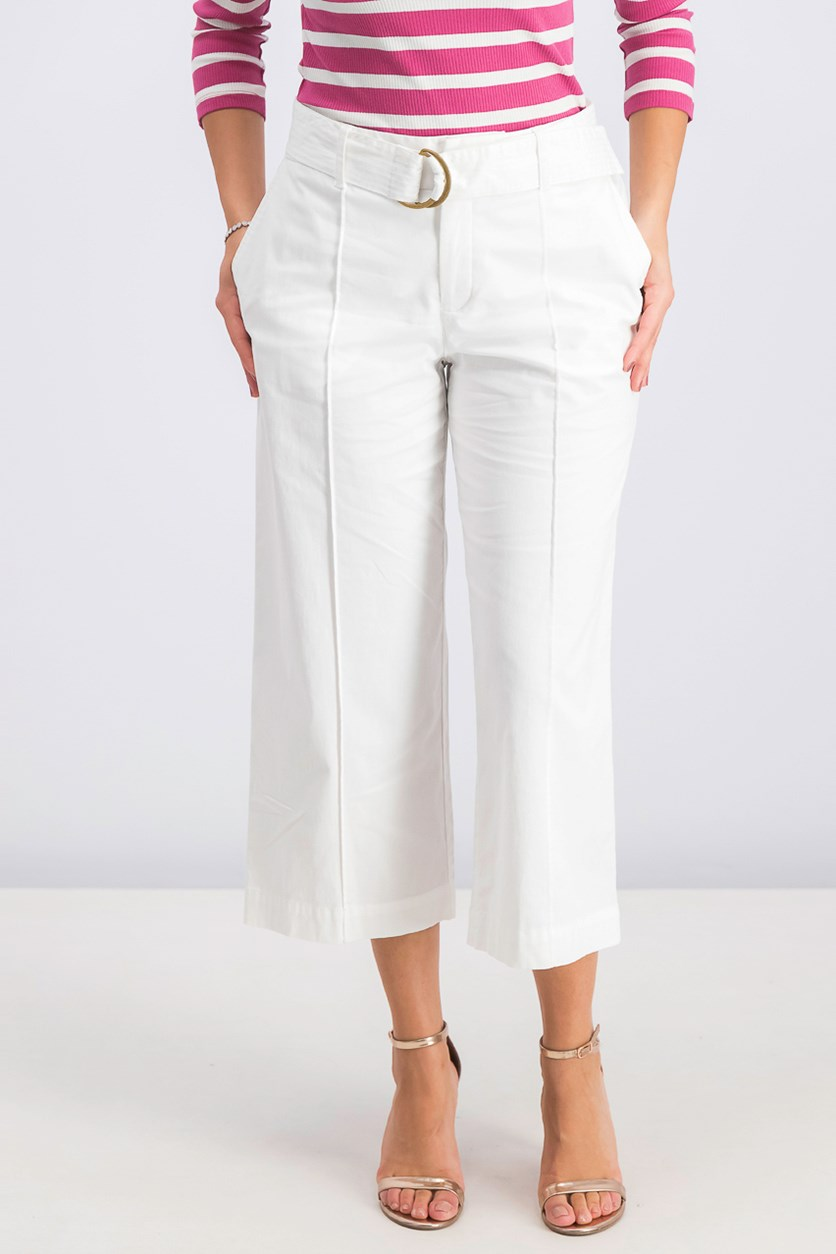 Women's Wide-Leg Belted Pants, Bright White