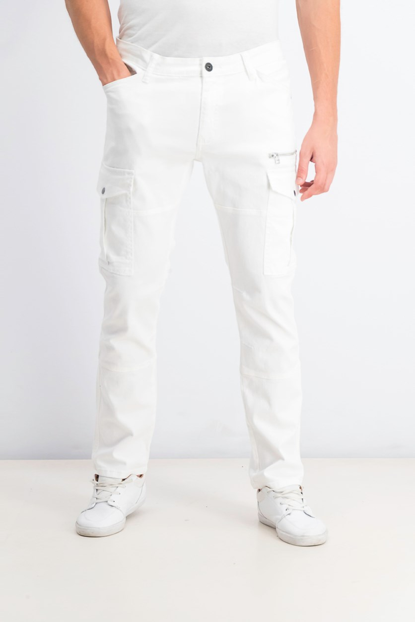 Men's Slim-Straight Fit Cargo Pants, White Wash