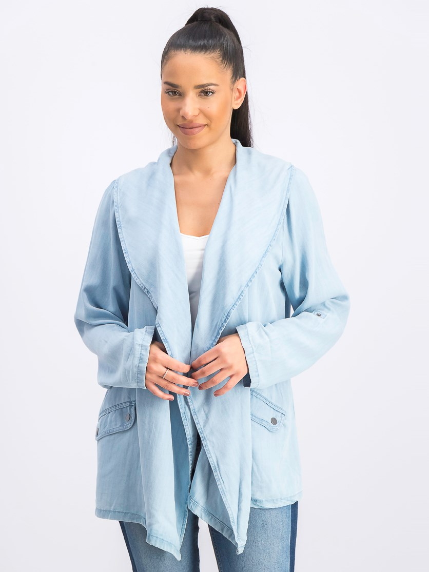 Women's Draped Chambray Jacket, Sun Wash
