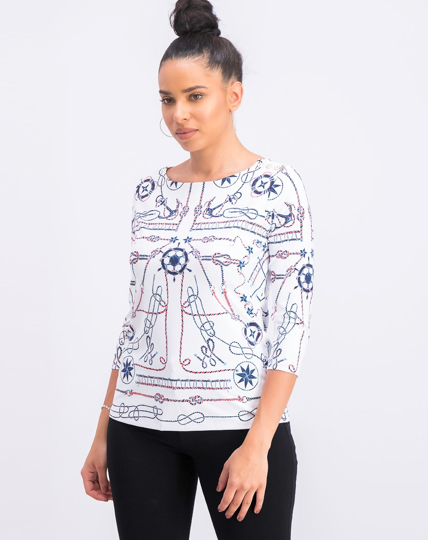 Women's Petite 3/4 Sleeves Printed Top, Bright White Combo