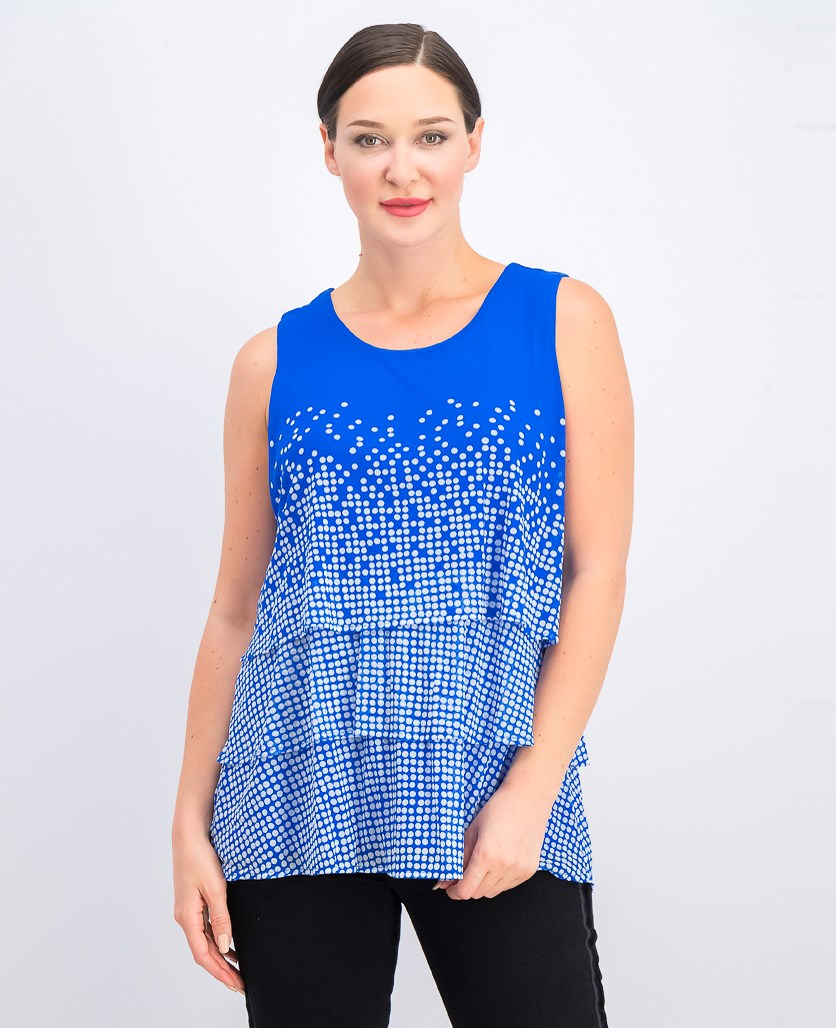 Women's Printed Layered Top, Blue Drift Dots