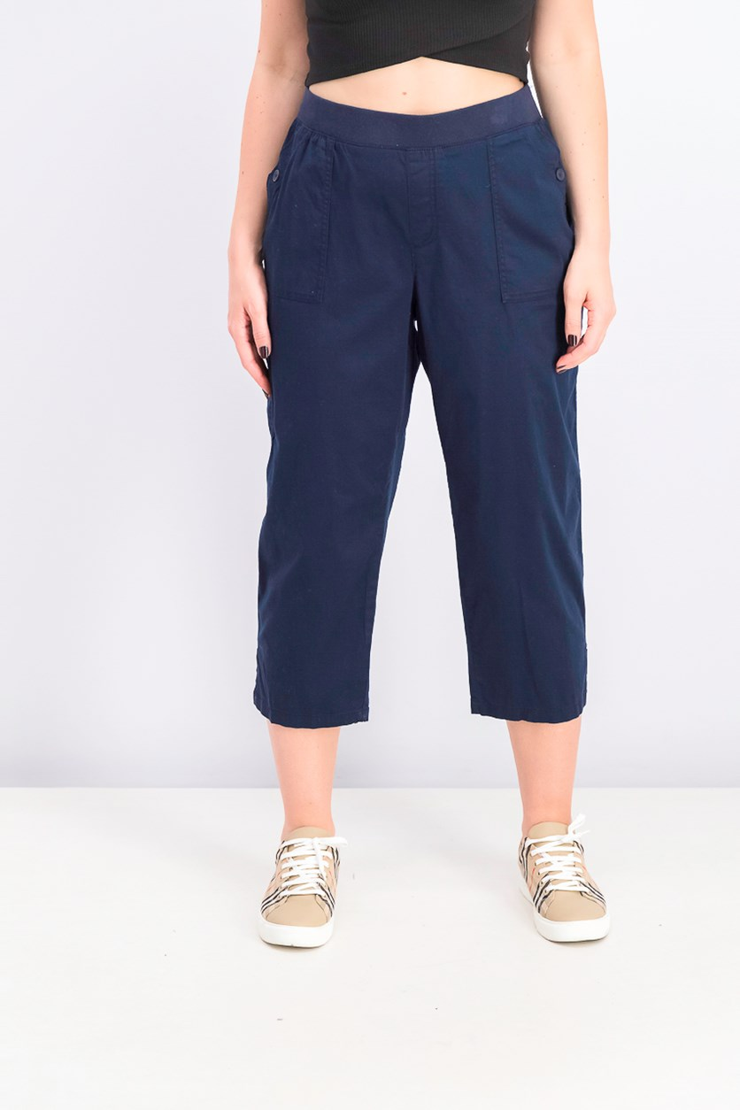 Women's Pull-on Utility Capris, Industrial Blue