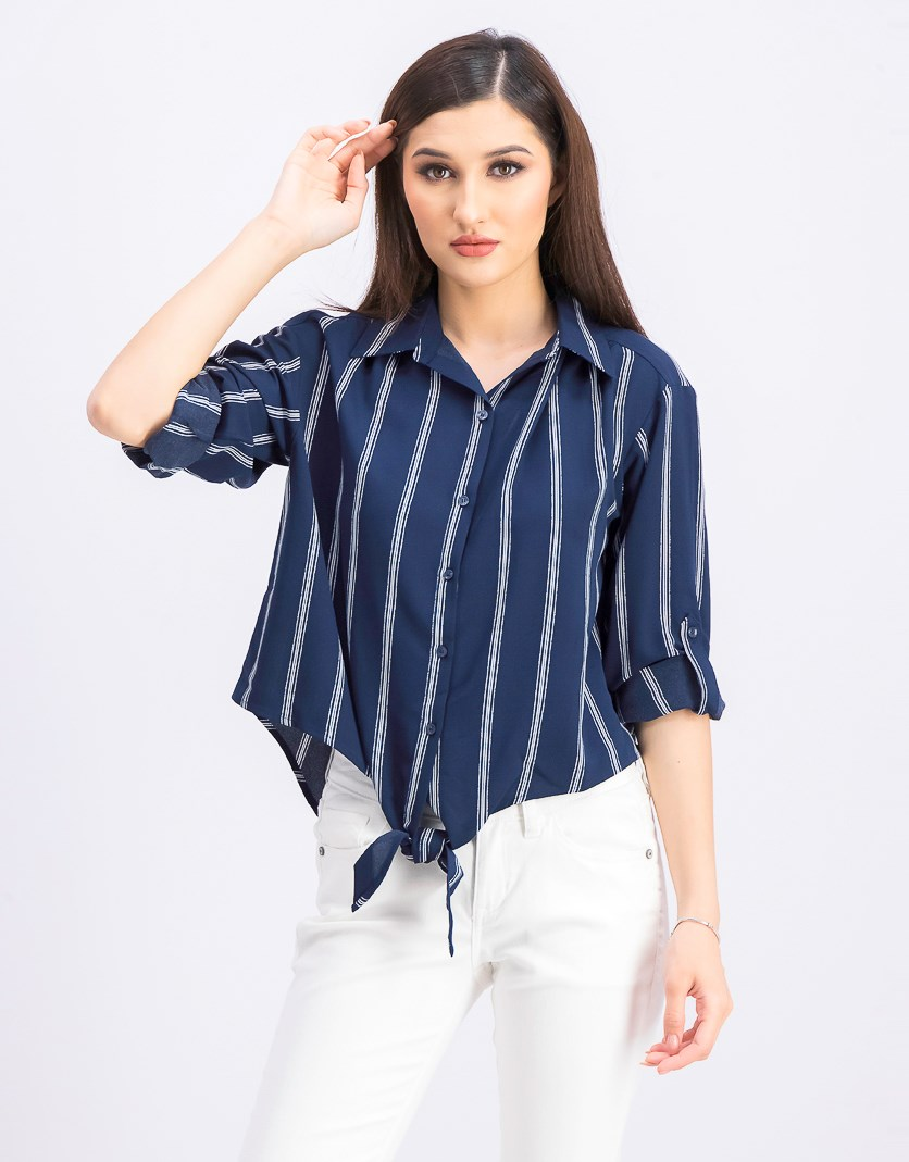 Womens Petite Striped Tie-Front Button-Up Shirt, Intrepid Combo