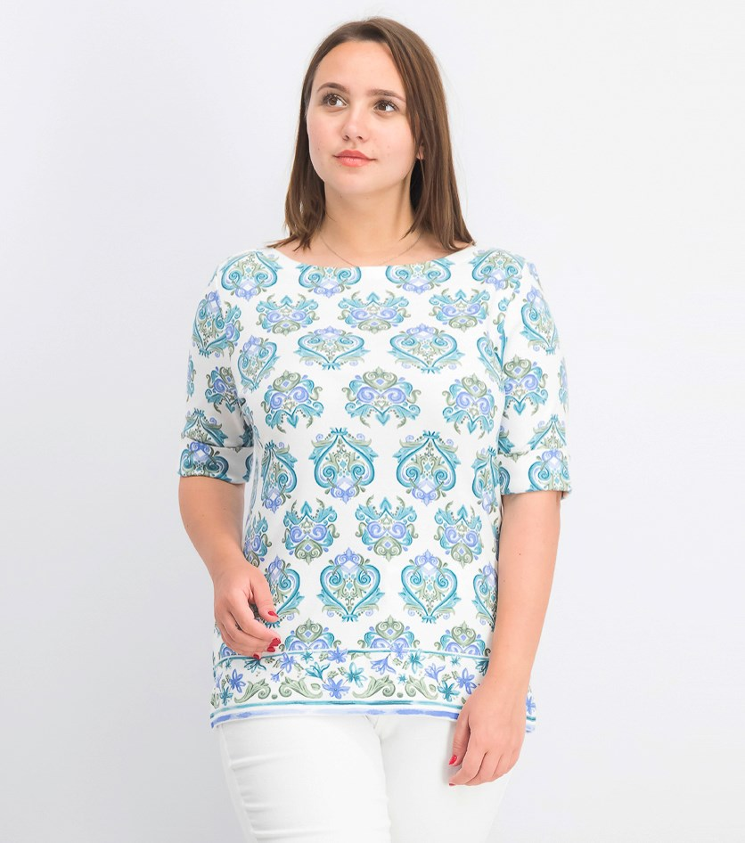 Women's Printed Boat-Neck Top, Olive Sprig